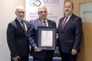 Salvide Abogados obtiene la certificación UNE EN ISO 9001:2015